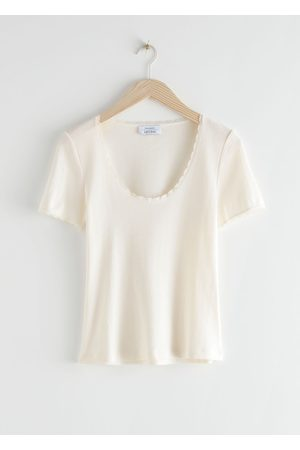 & OTHER STORIES Ribbed Lace Trim T-Shirt