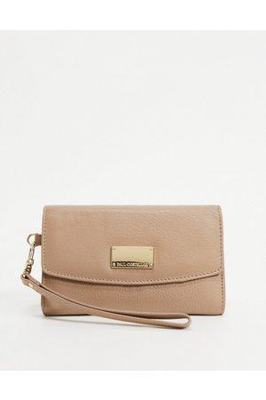 Paul Costelloe Leather wristlet wallet in light tan
