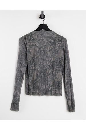 & OTHER STORIES & recycled mesh printed long sleeve top in multi
