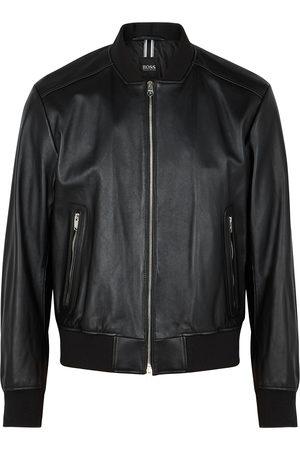 HUGO BOSS Men Leather Jackets - Nalban leather bomber jacket