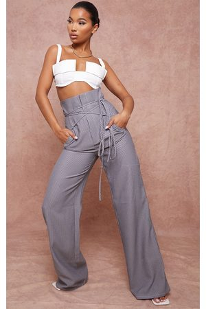 PRETTYLITTLETHING Charcoal High Waisted Pinstripe Tie Wrap Wide Leg Pants