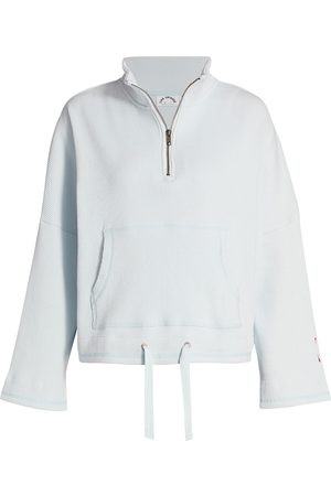 The Upside Women's Tiena Ribbed Quarter-Zip Drawstring-Waist Sweatshirt - - Size Small
