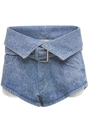 MARQUES'ALMEIDA Women Shorts - Organic Cotton Denim Mini Belted Shorts