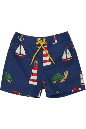 Mini Rodini Boys Swim Shorts - Printed Recycled Nylon Swim Shorts