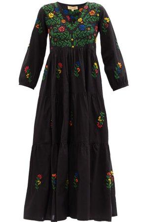 Muzungu Sisters Women Printed Dresses - Frangipani Floral-embroidered Organic-cotton Dress - Womens