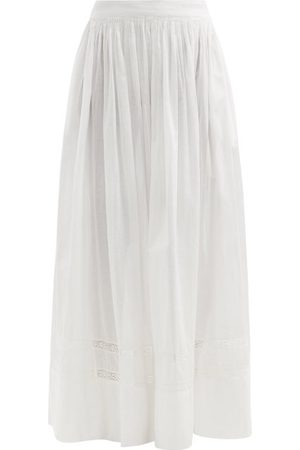 MIMI PROBER Women Maxi Skirts - Salter Lace-trimmed Organic-cotton Maxi Skirt - Womens