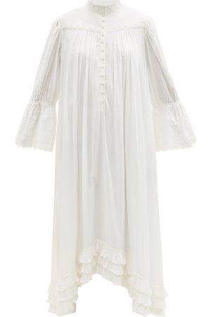 MIMI PROBER Bronte Lace-trimmed Organic-cotton Shirt Dress - Womens