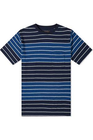 Beams Men T-shirts - Indigo Stripe Pocket Tee