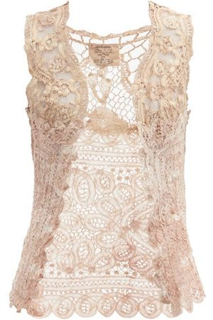 MIMI PROBER Antionette Upcycled Cotton-lace Top - Womens - Light