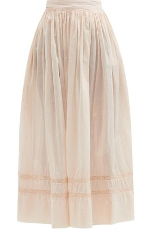 MIMI PROBER Salter Lace-trimmed Organic-cotton Maxi Skirt - Womens - Light