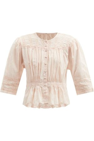 MIMI PROBER Women Blouses - Barton Lace-trimmed Organic-cotton Blouse - Womens - Light