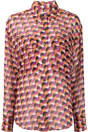 Equipment Nanine sheer geometric-patterned blouse