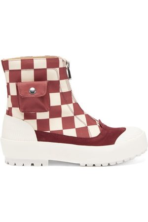 J.W.Anderson Women Ankle Boots - Zipped Check Cotton-canvas Boots - Womens
