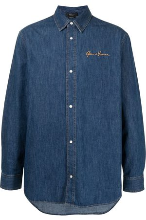 VERSACE Logo-embroidered denim shirt