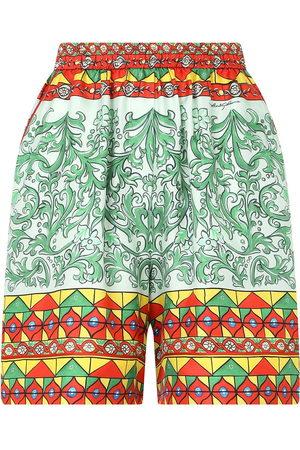 Dolce & Gabbana High-waisted geometric-print shorts