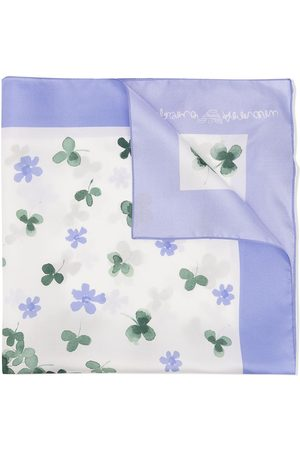 Emporio Armani Silk clover and floral-print scarf