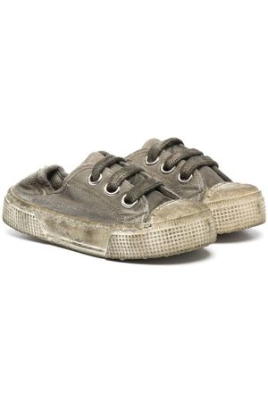 PèPè Distressed-finish lace-up sneakers