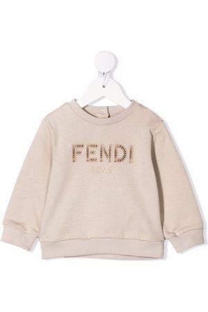 Fendi Embroidered-logo long-sleeve sweatshirt - Neutrals