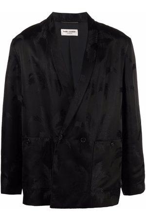 Saint Laurent Palm tree-jacquard double-breasted jacket
