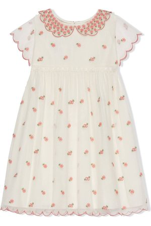 Gucci Tulle floral-embroidered dress