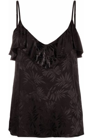 Sabina Musayev Draped floral appliqué top