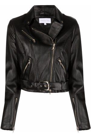 Patrizia Pepe Women Leather Jackets - Grained lambskin biker jacket
