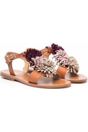 GALLUCCI Girls Sandals - Flower-detail leather sandals - Neutrals