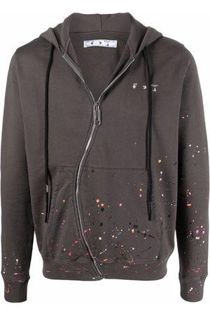 OFF-WHITE Men Hoodies - Logo-print paint-splatter hoodie