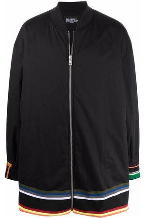 RAF SIMONS Stripe-detail zip-fastening coat