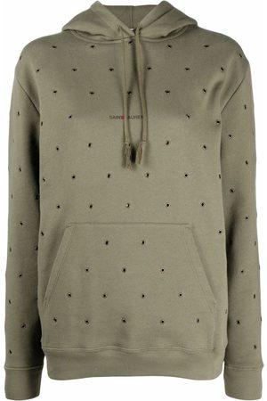 Saint Laurent Hoodies - Eyelet-embellished hoodie