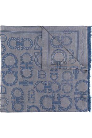 Salvatore Ferragamo Gancini print frayed scarf