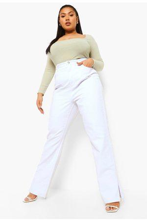 Boohoo Women Boyfriend Jeans - Womens Plus Split Hem Jean - - 12