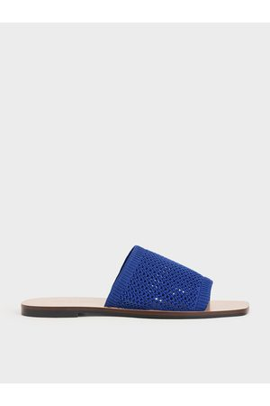 CHARLES & KEITH Knitted Asymmetric Slides