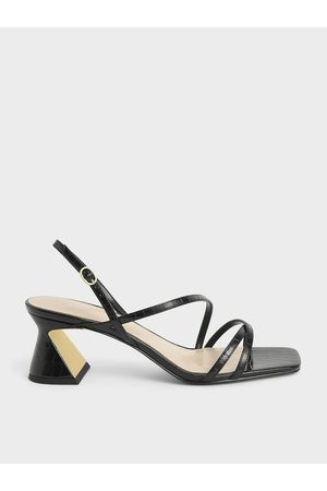 CHARLES & KEITH Croc-Effect Strappy Heeled Sandals