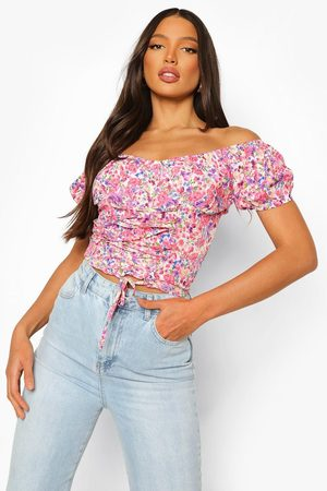 Boohoo Womens Tall Floral Print Lace Up Corset Top - - 2