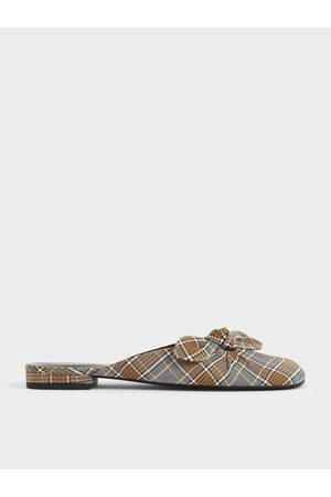 CHARLES & KEITH Check Print Knotted Fabric Mules