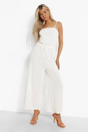 Boohoo Women Culottes - Womens Tall Linen Look Cami Culotte Jumpsuit - - 2