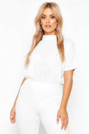 Boohoo Women High Necks - Womens Plus Woven High Neck Short Sleeve Blouse - - 12