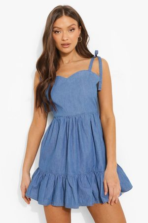 Boohoo Women Party Dresses - Womens Backless Tie Shoulder Chambray Mini Dress - - 2