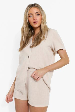 Boohoo Womens Linen Mix Tailored Fitted Shorts - - 4