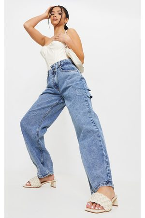 PRETTYLITTLETHING Petite Vintage Wash Baggy Low Rise Asymmetric Waistband Thigh Split Boyfriend Jeans