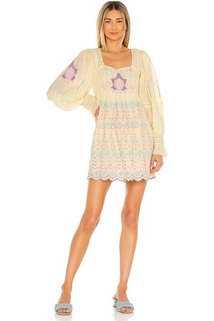LOVESHACKFANCY Freja Dress in Lemon.