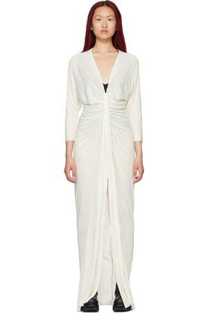 RICK OWENS LILIES White Jersey V-Neck Maxi Dress