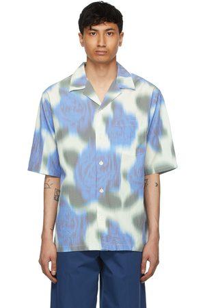 Kenzo Men Short sleeves - White & Blue Viscose Check Short Sleeve Shirt