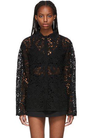 VALENTINO Black Lace Blossom Macrame Shirt