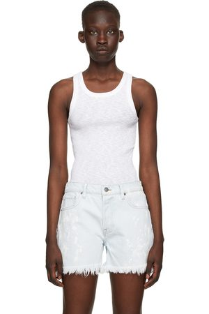 Frame White Cotton Boyfriend Racer Tank Top