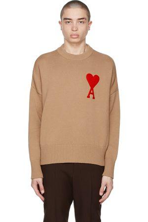 Ami SSENSE Exclusive Beige Oversize Ami De Coeur Sweater