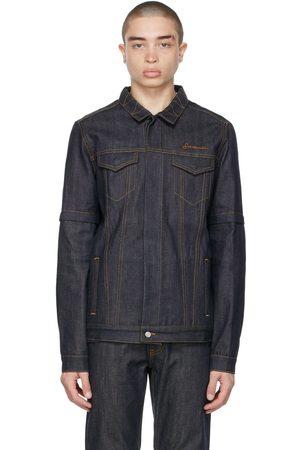 SAINTWOODS Indigo Denim Convertible Zip-Off Jacket