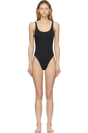 Palm Angels Black Classic Logo One-Piece Swimsuit