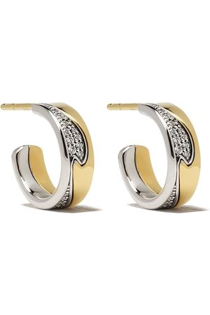Georg Jensen 18kt yellow and white small Fusion diamond hoop earrings - and color